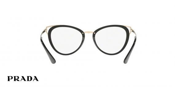 عینک طبی گربه ای مشکی طلایی پرادا - زاویه داخل