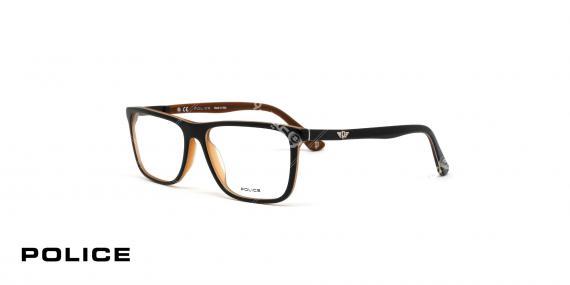 عینک طبی اصل پلیس - مدل بلاک 4 - قهوه ای - عکاسی وحدت - زاویه سه رخ