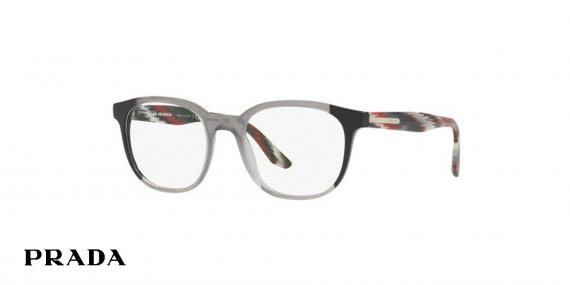 عینک طبی پرادا کائوچویی چند رنگ، شیشه ای مشکی قرمز دودی - زاویه سه رخ