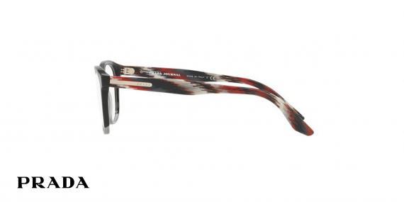 عینک طبی پرادا کائوچویی چند رنگ، شیشه ای مشکی قرمز دودی - زاویه کنار