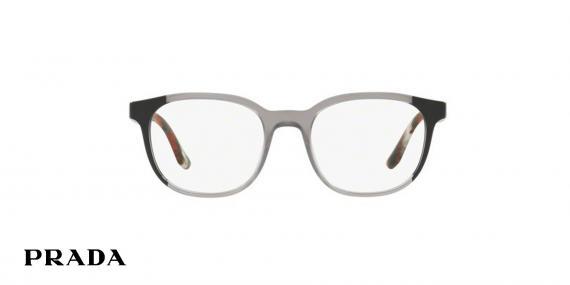 عینک طبی پرادا کائوچویی چند رنگ، شیشه ای مشکی قرمز دودی - زاویه روبرو