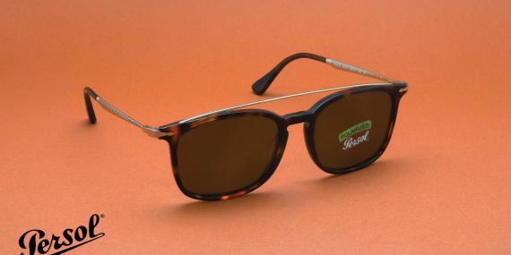 عینک آفتابی کائوچویی پرسول، رنگ قهوه ای هاوانا - عدسی قهوه ای - عکاسی وحدت - زاویه سه رخ