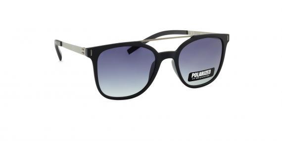 عینک آفتابی مربعی زینیا با بدنه فلزی کائوچویی و رنگ نقره ای سرمه ای - عکاسی توسط عینک وحدت - زاویه ی چپ به راست
