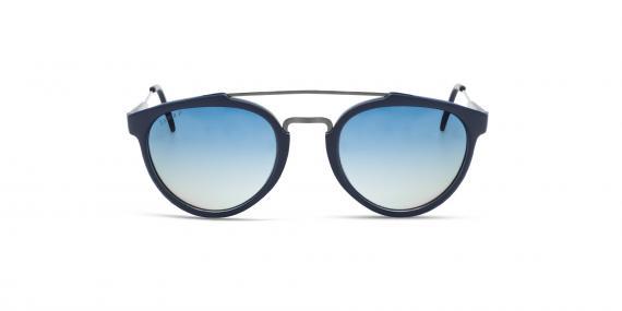 عینک آفتابی گرد زینیا سرمه ای با دسته های نقره ای - عکاسی توسط عینک وحدت - زاویه ی رو به رو