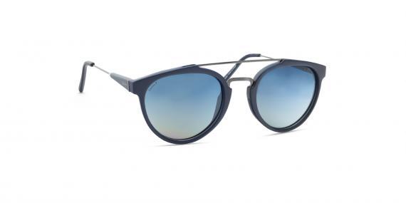 عینک آفتابی گرد زینیا سرمه ای با دسته های نقره ای - عکاسی توسط عینک وحدت - زاویه ی سه رخ از چپ