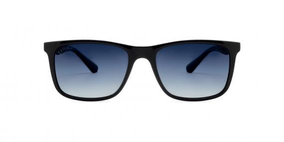 عینک آفتابی مستطیلی زینیا عدسی دودی با بدنه مشکی براق - عکاسی توسط عینک وحدت - زاویه ی رو به رو