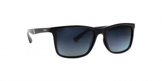 عینک آفتابی مستطیلی زینیا عدسی دودی با بدنه مشکی براق - عکاسی توسط عینک وحدت - زاویه ی چپ به  راست