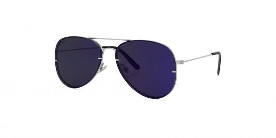 عینک آفتابی خلبانی زینیا سرمه ای با بدنه نقره ای - عکاسی توسط عینک وحدت - زاویه ی راست به