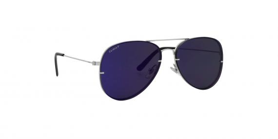 عینک آفتابی خلبانی زینیا سرمه ای با بدنه نقره ای - عکاسی توسط عینک وحدت - زاویه ی چپ به راست