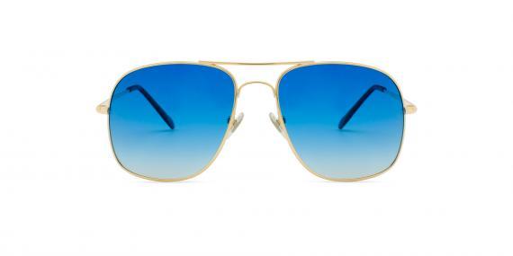عینک آفتابی زینیا طرح ژنرال ریبن بدنه طلایی عدسی ها آبی طیف دار - عکاسی وحدت - زاویه روبرو