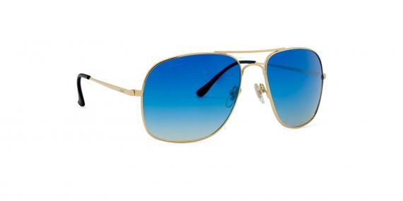 عینک آفتابی زینیا طرح ژنرال ریبن بدنه طلایی عدسی ها آبی طیف دار - عکاسی وحدت - زاویه سه رخ راست