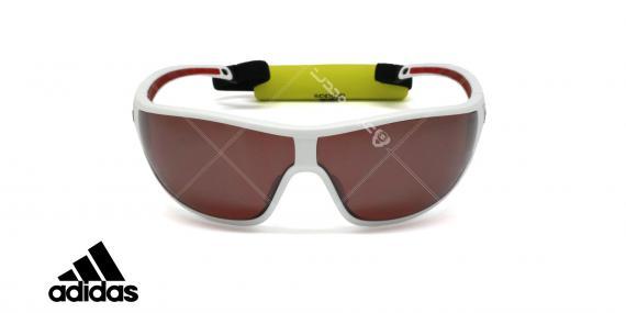 عینک آفتابی آدیداس با بند مخصوص - بدنه سفید قرمز - عدسی ها نقره ای پولاریزه - عکاسی وحدت - زاویه روبرو