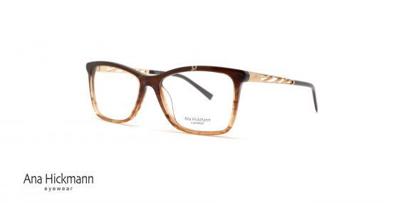 عینک طبی کائوچویی آنا هیکمن - رنگ بدنه قهوه ای طلایی - عکاسی وحدت - زاویه سه رخ