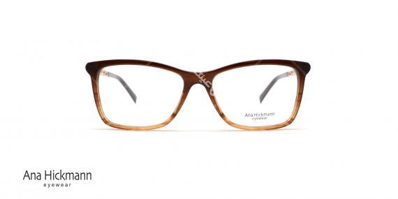 عینک طبی کائوچویی آنا هیکمن - رنگ بدنه قهوه ای طلایی - عکاسی وحدت - زاویه رو به رو
