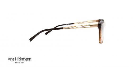 عینک طبی کائوچویی آنا هیکمن - رنگ بدنه قهوه ای طلایی - عکاسی وحدت - زاویه کنار