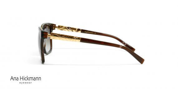 عینک آفتابی آنا هیکمن قهوه ای دسته طلایی - عکاسی وحدت - عکس از زاویه کنار