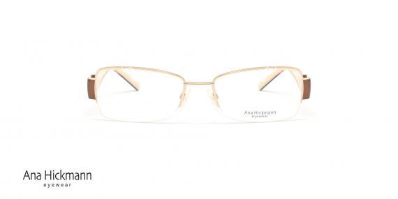 عینک طبی زیرگریف آناهیکمن - دسته دو رو - رنگ قهوه ای و رنگ شیری - عکاسی وحدت - زاویه رو به رو