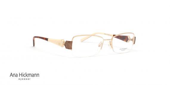 عینک طبی زیرگریف آناهیکمن - دسته دو رو - رنگ قهوه ای و رنگ شیری - عکاسی وحدت - زاویه سه رخ