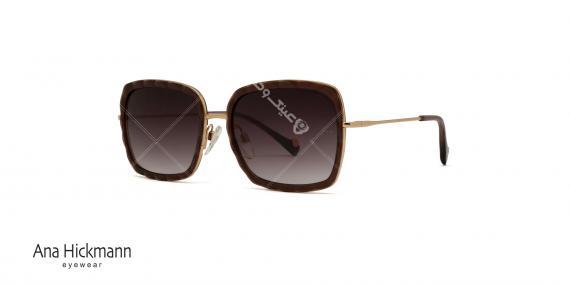 عینک آفتابی مربعی شکل  آناهیکمن - AH3162 - دسته فلزی طلایی - بدنه قهوه ای - عدسی قهوه ای طیف دار - عکاسی وحدت - زاویه سه رخ