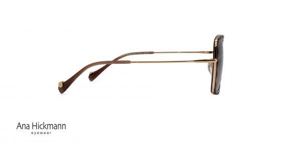 عینک آفتابی مربعی شکل  آناهیکمن - AH3162 - دسته فلزی طلایی - بدنه قهوه ای - عدسی قهوه ای طیف دار - عکاسی وحدت - زاویه کنار