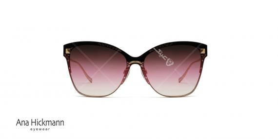 عینک آفتابی آناهیکمن طرح گربه ای - دسته طلایی فلزی - بدنه جلو و عدسی شرابی رنگ - عکاسی وحدت - زاویه روبرو