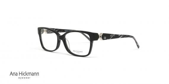 عینک طبی آنا هیکمن - دسته دو رو - رنگ مشکی - عکاسی وحدت - زاویه سه رخ