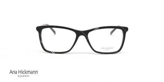 عینک طبی آنا هیکمن - بیضی شکل - رنگ ترکیبی مشکی طلایی - عکاسی وحدت - زاویه رو به رو