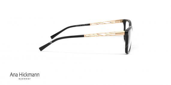 عینک طبی آنا هیکمن - بیضی شکل - رنگ ترکیبی مشکی طلایی - عکاسی وحدت - زاویه کنار