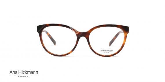 عینک طبی بیضی شکل طرح گربه ای آناهیکمن - دسته دو رو - رنگ قهوه ای هاوانا - عکاسی وحدت - زاویه رو به رو