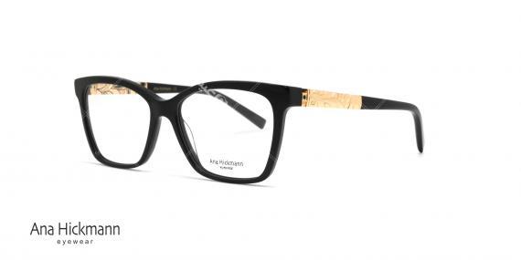 عینک طبی بیضی گوشه دار آناهیکمن - دسته دو رو - رنگ مشکی - عکاسی وحدت - زاویه سه رخ