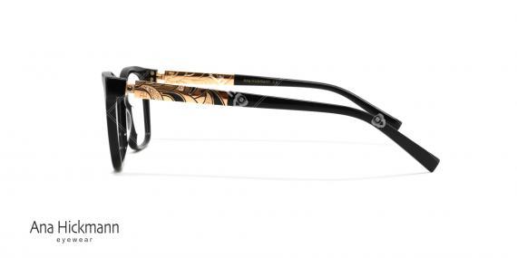 عینک طبی بیضی گوشه دار آناهیکمن - دسته دو رو - رنگ مشکی - عکاسی وحدت - زاویه کنار