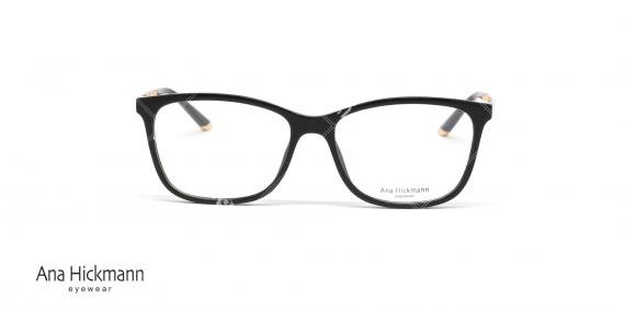 عینک طبی مستطیلی شکل آناهیکمن - دسته طلایی بدنه جلو مشکی رنگ - عکاسی وحدت - زاویه رو به رو