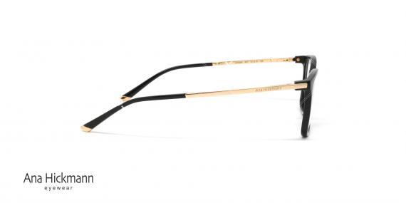 عینک طبی مستطیلی شکل آناهیکمن - دسته طلایی بدنه جلو مشکی رنگ - عکاسی وحدت - زاویه کنار