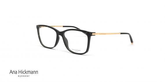 عینک طبی مستطیلی شکل آناهیکمن - دسته طلایی بدنه جلو مشکی رنگ - عکاسی وحدت - زاویه سه رخ
