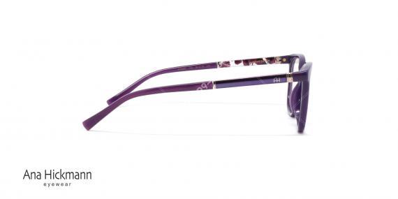 عینک طبی آنا هیکمن- رنگ بنفش - دسته طرح دار - عکاسی وحدت - زاویه کنار