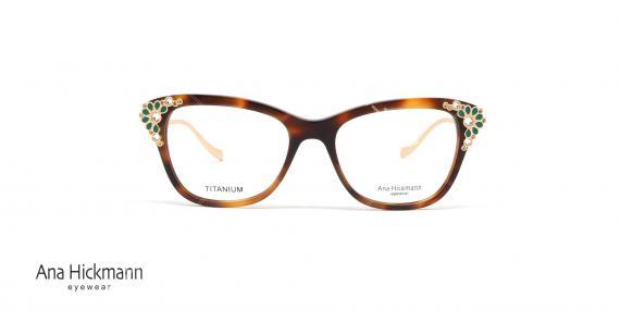 عینک طبی آناهیکمن - سری تولید محدود limited Edition - بدنه قهوه ای نگین کاری سبز - عکاسی وحدت - زاویه رو به رو