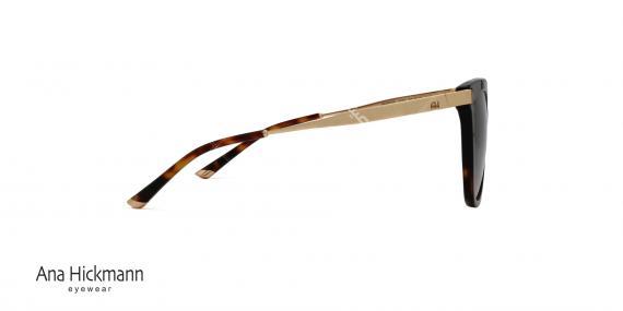 عینک آفتابی طرح گربه ای آنا هیکمن - دسته طلایی بدنه جلو کائوچویی قهوه ای هاوانا - عدسی دودی طیف دار - عکاسی وحدت - زاویه کنار