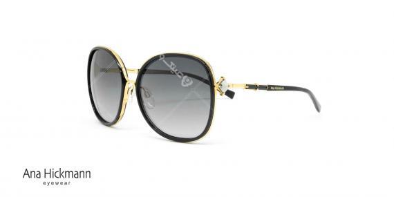 عینک آفتابی آنا هیکمن - مدل پروانه ای - نگین دار - مشکی طلائی - عکاسی وحدت - زاویه سه رخ