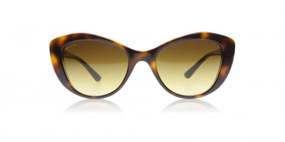 عینک آفتابی بولگاری - مدل گربه ای - رنگ قهوه ای هاوانا - زاویه روبرو