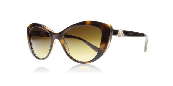 عینک آفتابی بولگاری - مدل گربه ای - رنگ قهوه ای هاوانا - زاویه سه رخ