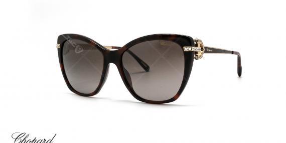 عینک آفتابی گربه ای کائوچویی شوپارد -  CHOPARD SCH232S - رنگ قهوه ای هاوانا - عکاسی از عینک وحدت - عکس زاویه سه رخ