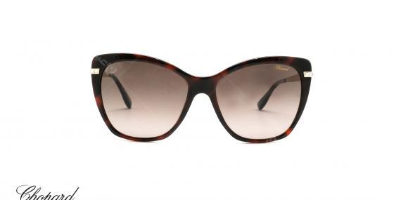 عینک آفتابی گربه ای کائوچویی شوپارد -  CHOPARD SCH232S - رنگ قهوه ای هاوانا - عکاسی از عینک وحدت - عکس زاویه  روبرو