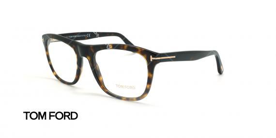 عینک طبی گربه ای تام فورد - TOM FORD FT5480 - قهوه ای هاوانا - عکاسی وحدت - زاویه سه رخ