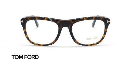 عینک طبی گربه ای تام فورد - TOM FORD FT5480 - قهوه ای هاوانا - عکاسی وحدت - زاویه روبرو