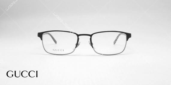 عینک طبی فلزی کائچویی گوچی - رنگ مشکی - عکاسی وحدت - زاویه روبرو