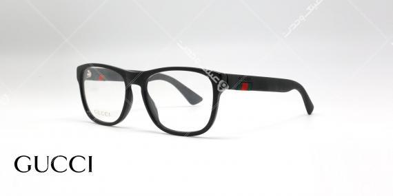 عینک طبی کائوچوی مشکی - با نماد سبز و قرمز گوچی - عکاسی وحدت - زاویه سه رخ
