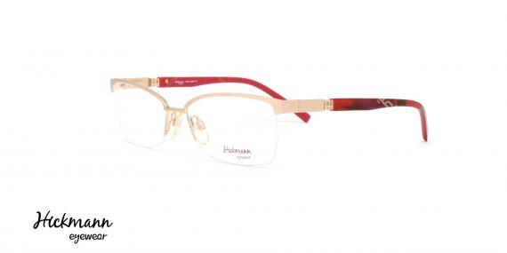 عینک طبی زیر گریف هیکمن - بدنه طلایی سر دسته قرمز هاوانا - عکاسی وحدت - زاویه سه رخ