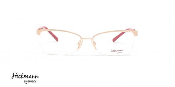 عینک طبی زیر گریف هیکمن - بدنه طلایی سر دسته قرمز هاوانا - عکاسی وحدت - زاویه رو به رو