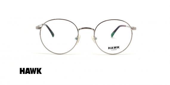 عینک طبی گرد فلزی هاوک فریم نقره ای - عکس از زاویه روبرو