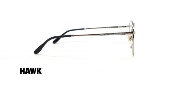 عینک طبی گرد فلزی هاوک فریم نقره ای - عکس از زاویه کنار